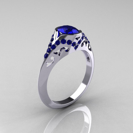 Classic 10K White Gold Oval Blue Sapphire Wedding Ring Engagement Ring R194-10KWGNBS-1
