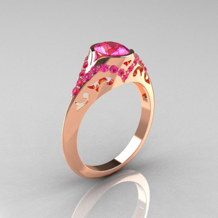 Classic 14K Rose Gold Oval Pink Sapphire Wedding Ring Engagement Ring R194-14KRGNPS-1