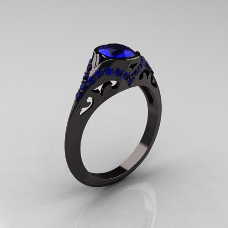 Classic 14K Black Gold Oval Blue Sapphire Wedding Ring Engagement Ring R194-14KBGNBS-1
