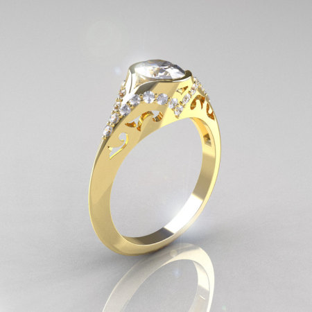 Classic 14K Yellow Gold Oval White Sapphire Diamond Wedding Ring Engagement Ring R194-14KYGDNWS-1