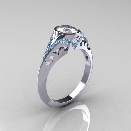 Classic 14K White Gold Oval White Sapphire Aquamarine Wedding Ring Engagement Ring R194-14KWGAQNWS-1