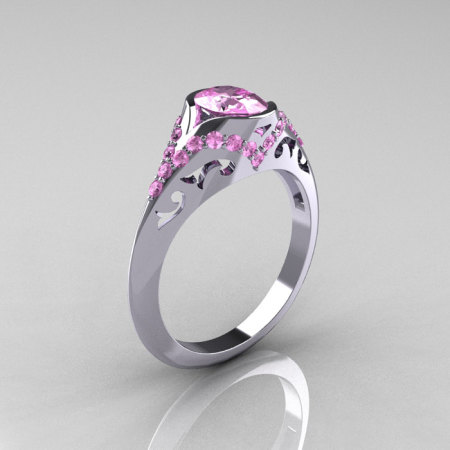 Classic 14K White Gold Oval Light Pink Sapphire Wedding Ring Engagement Ring R194-14KWGNLPS-1