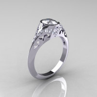 Classic 14K White Gold Oval White Sapphire Diamond Wedding Ring Engagement Ring R194-14KWGDNWS-1
