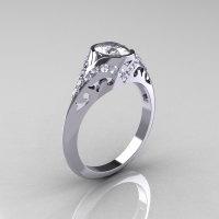 Classic 14K White Gold Oval White Sapphire Diamond Wedding Ring Engagement Ring R194-14KWGDNWS-1