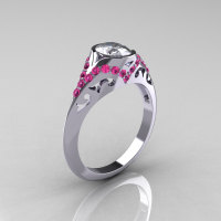 Classic 14K White Gold Oval White and Pink Sapphire Wedding Ring Engagement Ring R194-14KWGPSNWS-1