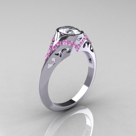 Classic 950 Platinum Oval White and Light Pink Sapphire Wedding Ring Engagement Ring R194-PLATLPSNWS-1