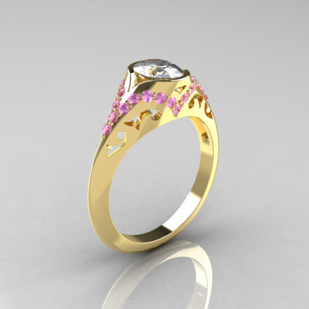 Classic 18K Yellow Gold Oval White and Ligh Pink Sapphire Wedding Ring Engagement Ring R194-18KYGLPSNWS-1