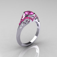Classic 10K White Gold Oval Pink Sapphire Wedding Ring Engagement Ring R194-10KWGNPS-1