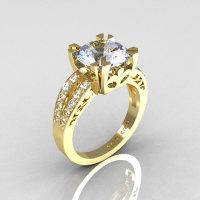 Modern Vintage 14K Yellow Gold 3.0 Carat Aquamarine Diamond Solitaire Ring R102-14KYGDAQ-1