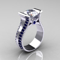 Modern 14K White Gold 3.0 Russian Cubic Zirconia Blue Sapphire Bridal Ring R196-14KWGBSRCZ-1