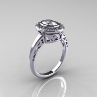 Classic Italian 14K White Gold Oval White Sapphire Diamond Engagement Ring R195-14KWGDNWS-1
