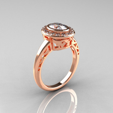 Classic Italian 14K Rose Gold Oval White Sapphire Diamond Engagement Ring R195-14KRGDNWS-1