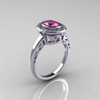 Classic Italian 14K White Gold Oval Pink and White Sapphire Diamond Engagement Ring R195-14KWGWPS-1