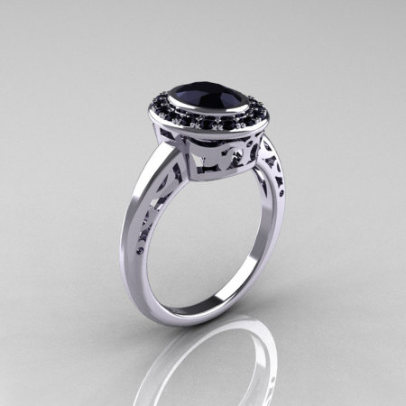 Classic Italian 14K White Gold Oval Black Diamond Engagement Ring R195-14KWGBDD-1