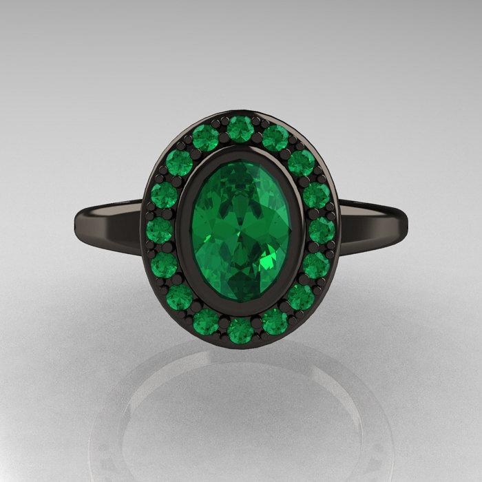 Classic Italian 14K Black Gold Oval Emerald Engagement Ring R195 14KBGEM
