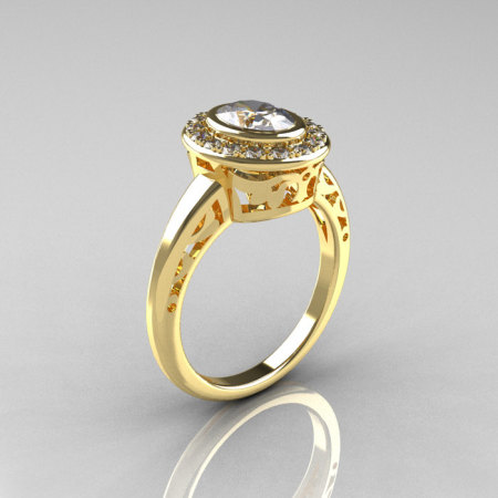Classic Italian 18K Yellow Gold Oval White Sapphire Diamond Engagement Ring R195-18KYGDNWS-1