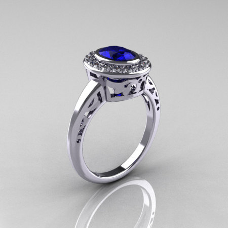 Classic Italian 14K White Gold Oval Blue Sapphire Diamond Engagement Ring R195-14KWGDNBS-1