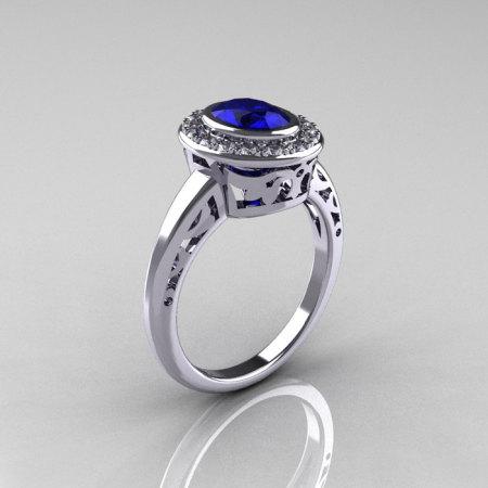Classic Italian 14K White Gold Oval Blue Sapphire Diamond Engagement Ring R195-14KWGDNBS-1