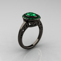 Classic Italian 14K Black Gold Oval Emerald Engagement Ring R195-14KBGEM-1