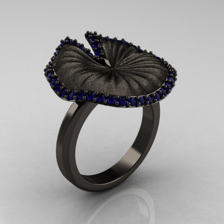 Natures Nouveau 14K Black Gold Blue Sapphire Water Lily Leaf Bridal Ring NN121-14KBGSBS-1