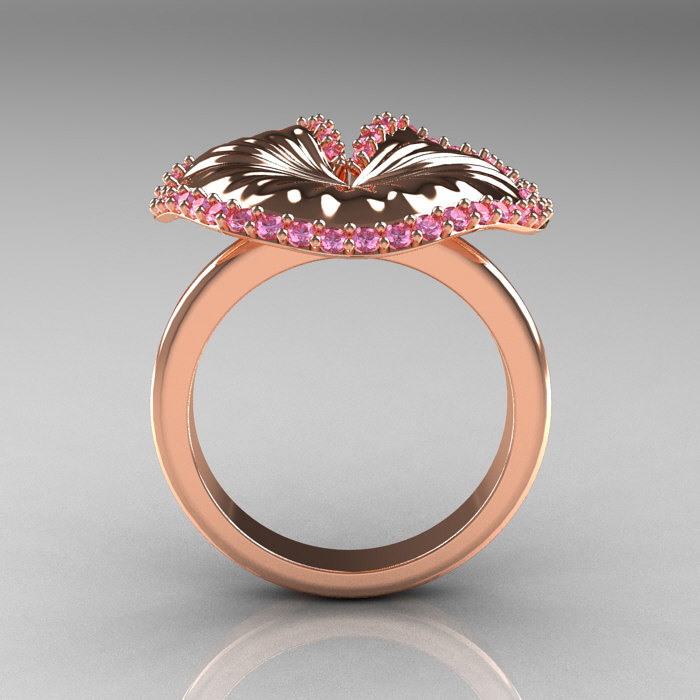 14k Rose Gold Light Pink Sapphire Water Lily Leaf Wedding