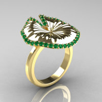 10K Yellow Gold Emerald Water Lily Leaf Wedding Ring Engagement Ring NN121-10KYGEM-1