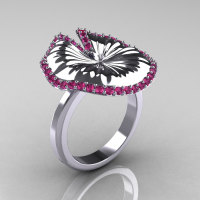 10K White Gold Pink Sapphire Water Lily Leaf Wedding Ring Engagement Ring NN121-10KWGPS-1