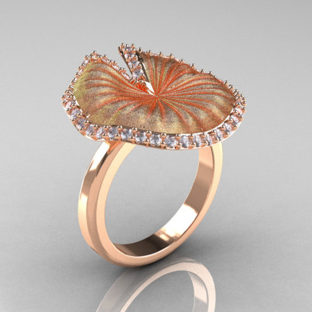 14K Rose Gold Diamond Water Lily Leaf Wedding Ring Engagement Ring NN121-14KRGSD-1