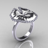 14K White Gold Diamond Water Lily Leaf Wedding Ring Engagement Ring NN121-14KWGD-1