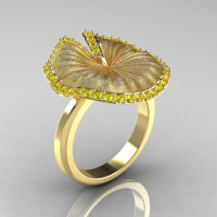 14K Yellow Gold Yellow Sapphire Water Lily Leaf Wedding Ring Engagement Ring NN121-14KYGSYS-1