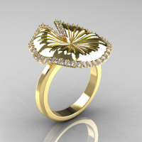 14K Yellow Gold Diamond Water Lily Leaf Wedding Ring Engagement Ring NN121-14KYGD-1