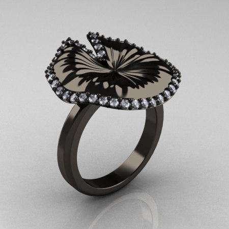 18K Black Gold Diamond Water Lily Leaf Wedding Ring Engagement Ring NN121-18KBGD-1