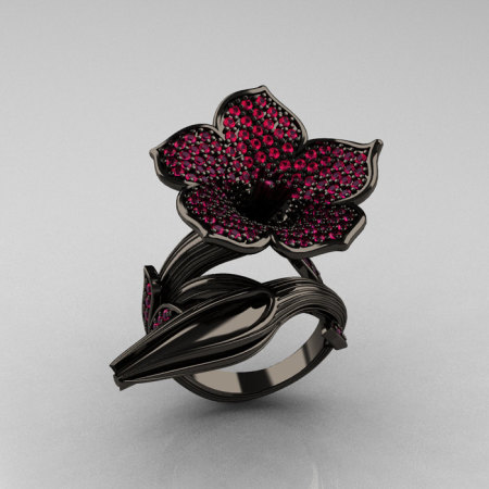 Designer Exclusive 14K Black Gold Pink Sapphire Devils Trumpet Flower and Vine Ring NN123-14KBGPS-1
