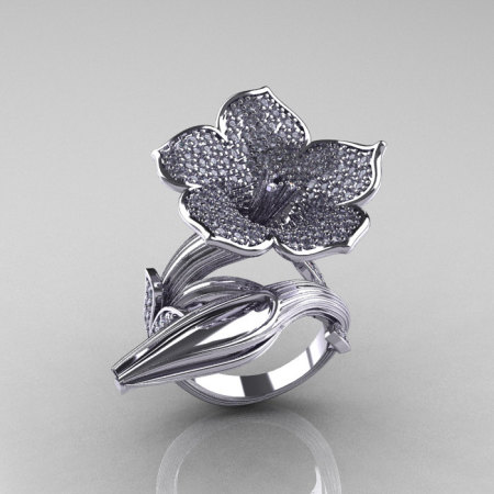 Designer Exclusive 14K White Gold Diamond Angels Trumpet Flower and Vine Ring NN123-14KWGD-1