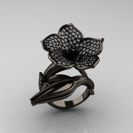 Designer Exclusive 14K Black Gold Diamond Devils Trumpet Flower and Vine Ring NN123-14KBGD-1