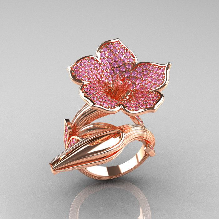 Designer exclusive 14k rose gold light pink sapphire angels trumpet designer exclusive 14k rose gold light pink sapphire angels trumpet flower and vine ring nn123 mightylinksfo