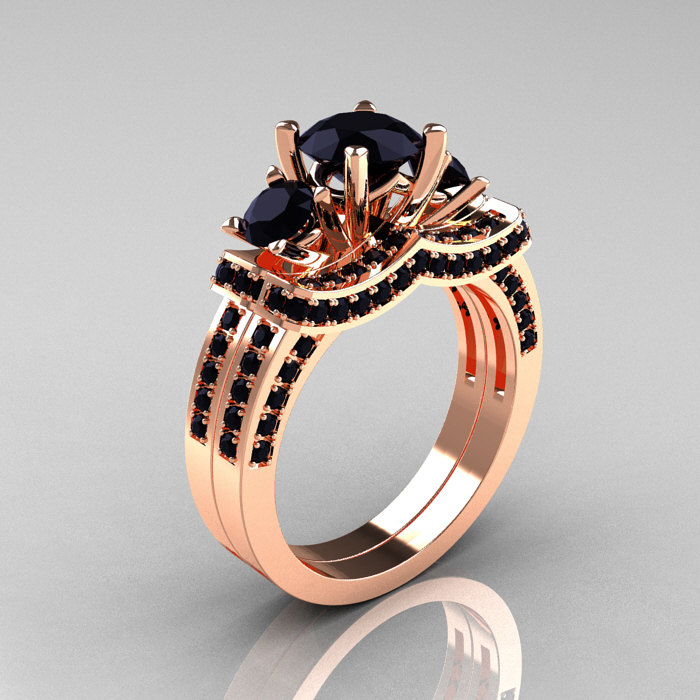 French 14K Rose Gold Three Stone Black Diamond Wedding Ring Engagement Ring Bridal Set R182S