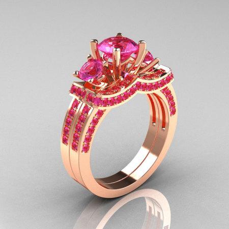 French 14K Rose Gold Three Stone Pink Sapphire Wedding Ring Engagement Ring Bridal Set R182S-14KRGPS-1
