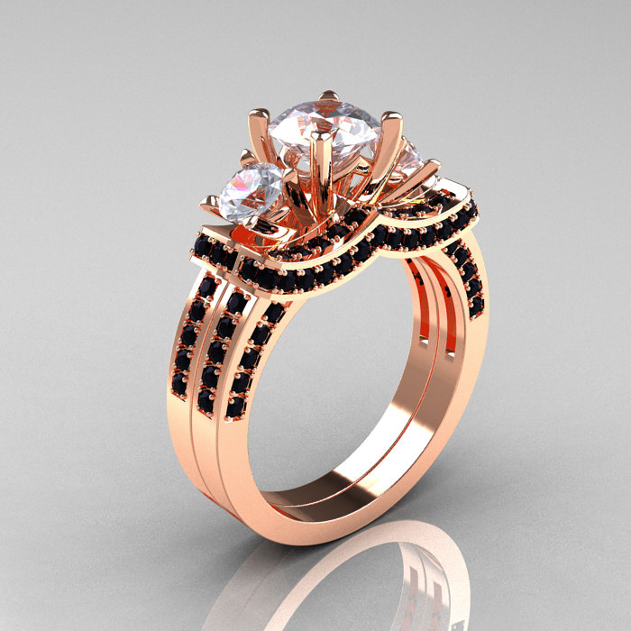 french 14k rose gold three stone black diamond white sapphire wedding ring engagement ring bridal set - Rose Gold Wedding Ring Set