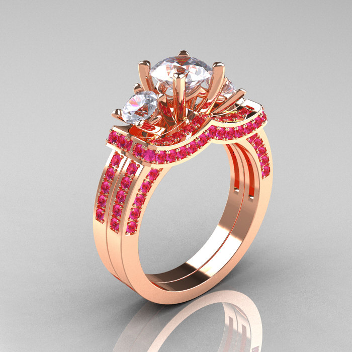 French 14K Rose Gold Three Stone Pink and White Sapphire Wedding Ring Engagem