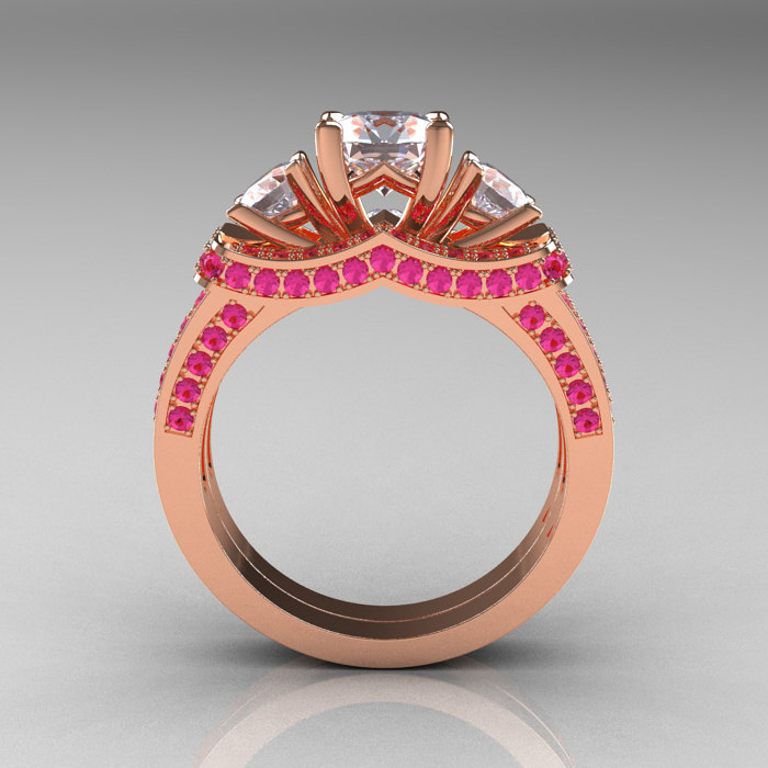 French 14K Rose Gold Three Stone Pink And White Sapphire
