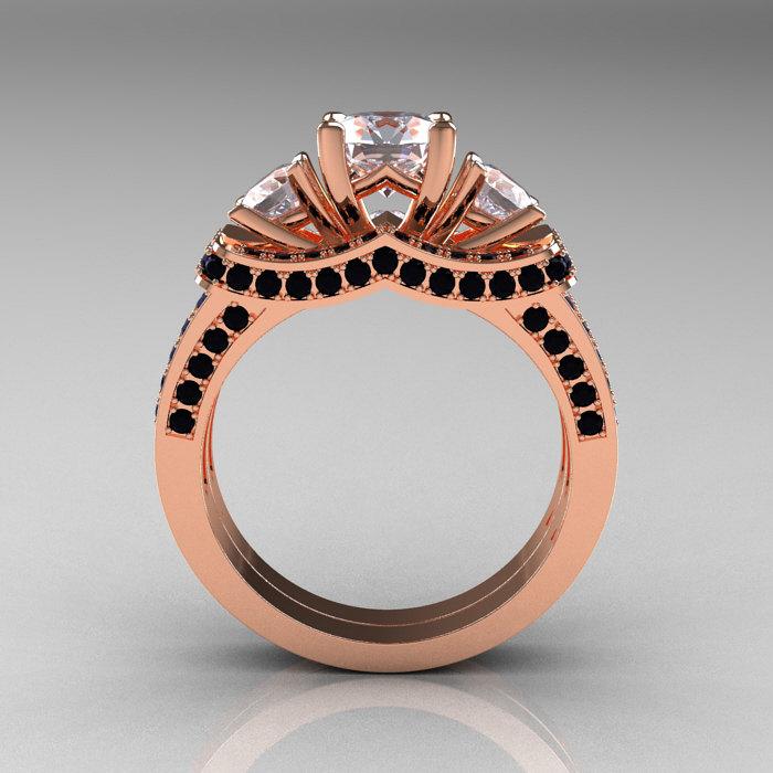 french 14k rose gold three stone black diamond white sapphire wedding ring engagement ring bridal set - White Sapphire Wedding Ring Sets
