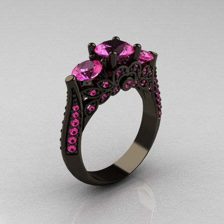 Classic 14K Black Gold Three Stone Pink Sapphire Solitaire Ring R200-14KBGPS-1