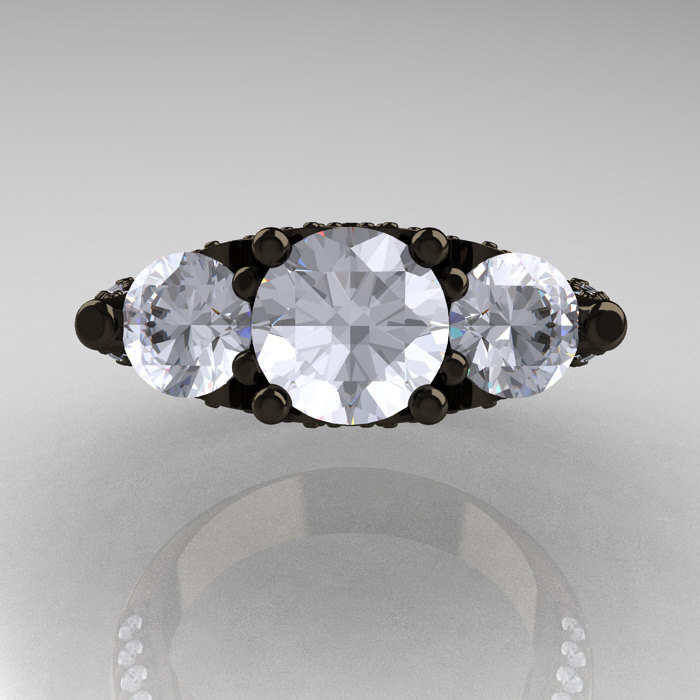 14k Black Gold Three Stone Diamond Cubic Zirconia