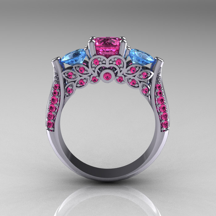 Classic 10k White Gold Three Stone Blue Topaz Pink
