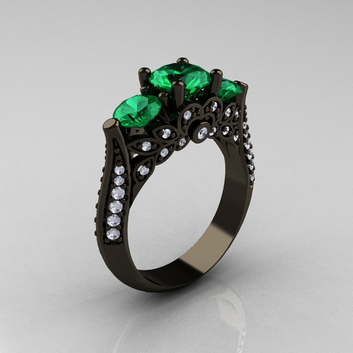 14k Black Gold Three Stone Diamond Emerald Solitaire Ring R200 14kbgdem 1