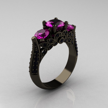 Classic 14K Black Gold Three Stone Black Diamond Amethyst Solitaire Ring R200-14KBGBDAM-1