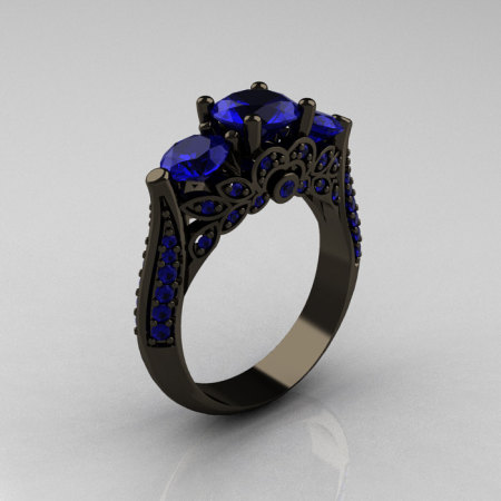 Classic 14K Black Gold Three Stone Blue Sapphire Solitaire Ring R200-14KBGBS-1