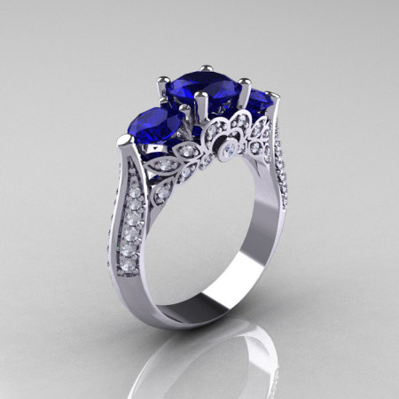 Classic 14K White Gold Three Stone Diamond Blue Sapphire Solitaire Ring R200-14KWGDBS-1