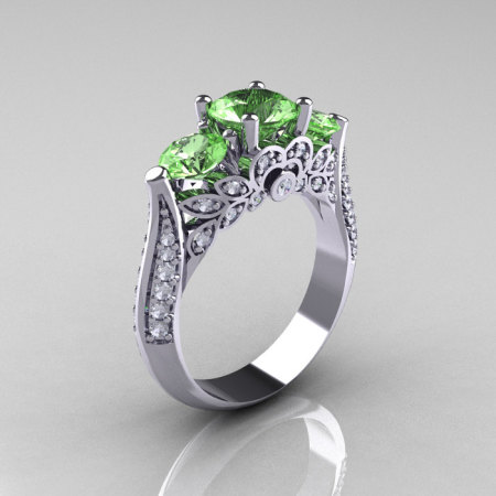 14K White Gold Three Stone Diamond Peridot Solitaire Ring R200-14KWGDP-1